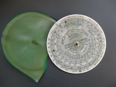 Vintage Jeppesen Aviation Computer CR-2 Dial Calculator Circular Slide Rule ELAL