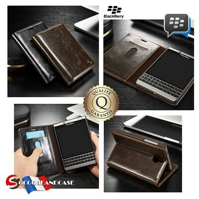 Etui Coque housse Cuir Oil Wax Leather Case Blackberry Passport Silver Edition