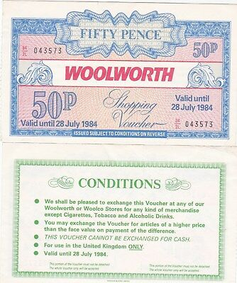 Woolworth Voucher for 50p dated 28th July 1984