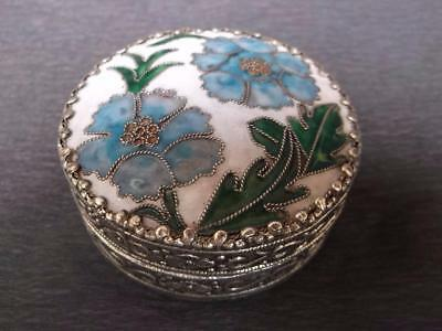 456 / Beautiful Vintage Chinese Metal And Enamelled Box With Internal Mirror