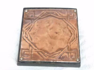 442 / Lovely Antique Arts And Crafts Wood And Hand Beatern Copper Teapot Stand