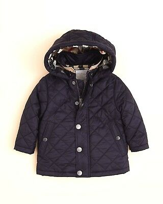 Authentic Burberry Infant Boys' Jerry Quilted Navy Jacket - Sizes 6 Month $215