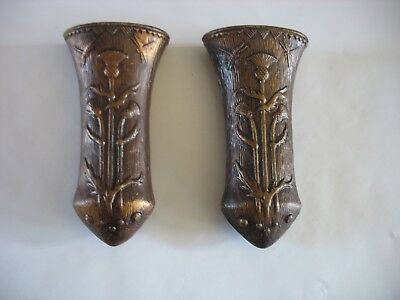 Made in Japan PAIR of wall pockets Pottery Bronzed w thistles and dragonflies