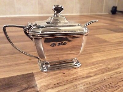 Sterling Silver Mustard Pot With Liner And Spoon