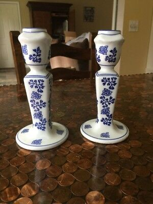 Blue Willow set of 2 Taper Candle Holders Candlesticks Unknown Maker!