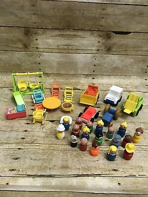 Large lot of Vintage Fisher Price Little People Characters Furniture Vehicles