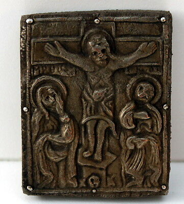 Amazing Medieval Or Post Medieval Silver Plated Icon With Jesus Christ # 42B