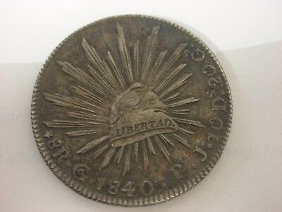 "1840 MEXICO Republic Pi JS 8 Reales Silver Coin XF ""CAP AND RAYS"" Better Date"
