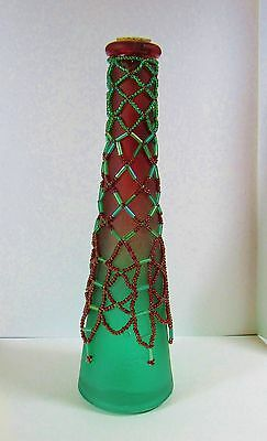 Red Green Frosted Glass Bud Vase with Hand Beaded Glass Seed Bead Netting