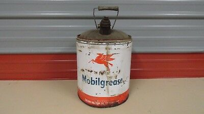 Vintage Mobil Oil Can 5 Gallon Bucket. Grease Can Wood Handle