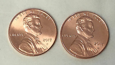 2017 P&d Lincoln Shield Cents Bu Unc From Bank Roll