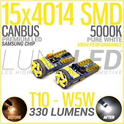 2 Bombillas Led T10 W5W 15 Smd 4014 Canbus Blanco 5000K Samsung Coche Bulb White