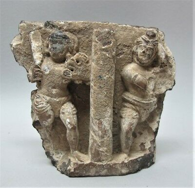 Rare Ancient GANDHARAN Carved Schist Relief Fragment of Marine Deities  200 BCE