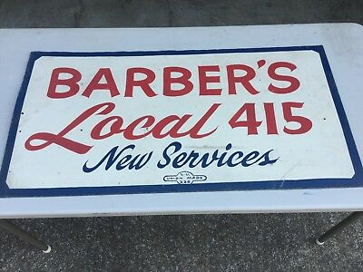 Rare Vintage fiberboard hand painted Barbers Sign from 40's