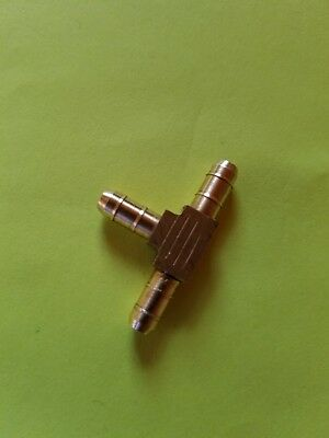 """1/8""""  HOSE BARB TEE Brass TUBE 3 WAY T Fitting  Gas Fuel Water Air"""