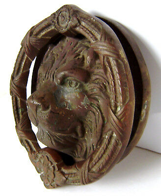Vintage Heavy Brass Lion Head Door Knocker Mexico