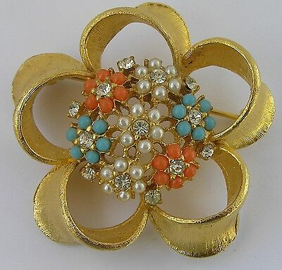 Vtg Bead Flower Rhinestone Brooch Lucite Glass Cluster Aqua Coral Faux Pearl Pin