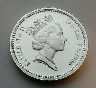 Great Britain,UK 1 Pound 1986.KM#946a. N.Ireland Bloomig Flax. Proof Silver coin