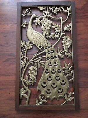 PEACOCK Wisteria  branch WOOD FRAME PICTURE 13X24 design on both sides