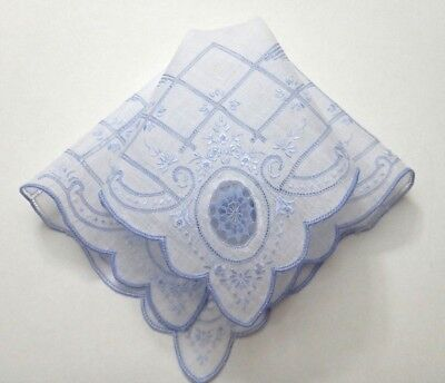 Vintage Appenzell Blue Embroidery Linen Hanky Needle Lace Inserts Drawnwork FINE