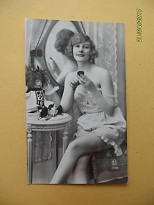 Orig French 1910's-1920's Semi-Nude Postcard Sexy Lady Mirror Art Deco #A3