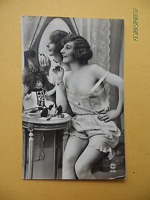 Orig French 1910's-1920's Semi-Nude Postcard Sexy Lady Mirror Art Deco #A1