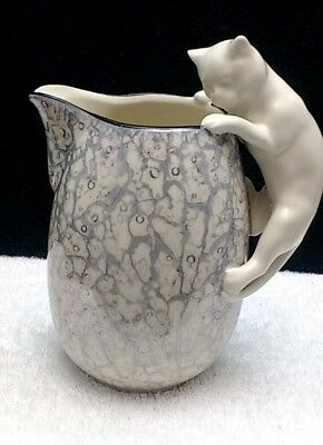 Vintage Lusterware Cat Handle Pitcher