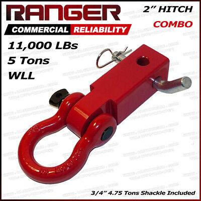 "Ranger 2"" Hitch Receiver with 3/4"" Shackle D-Ring Combo Adapter 11,000 LBs 5 Ton"