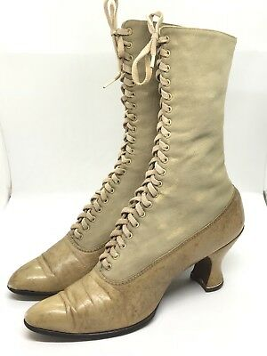 Antique Edwardian Shoes Boots Tall Lace Up Granny Vintage