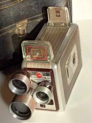 Kodak Brownie 8mm Movie Camera /w Turret Lenses, f/2.3, Wind Up with case