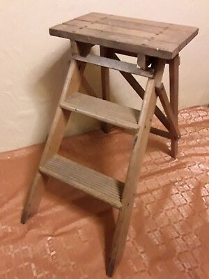 Vintage Wooden Folding 3 Step Stool/Ladder/Display Stand/Library/Industrial Grea