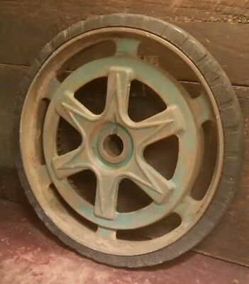 "VINTAGE ANTIQUE 10""-7lb CAST IRON LAWNMOWER WHEEL GEAR STEAMPUNK ART LAMP PARTS"
