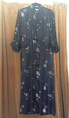 """Gorgeous Vtg 1980S Chinese """"Peony"""" Black Floral Rayon Mandarin Gown"""