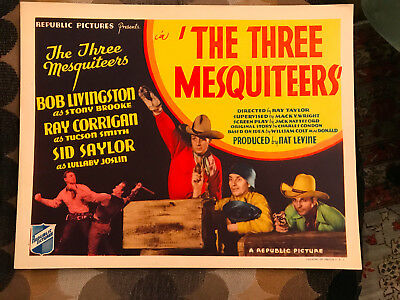 The Three Mesquiteers 1936 Republic western title lobby card  Bob Livingston