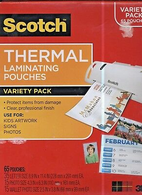 Scotch Variety Pack Thermal Laminator Pouches 3 Mil 65 Variety Pack laminater