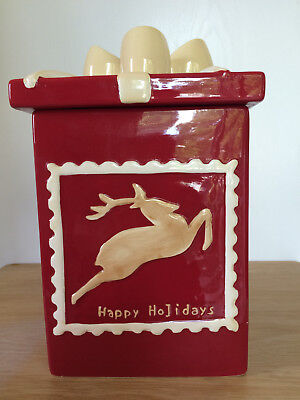 Christmas Wrapped Gift Present Reindeer Happy Holidays Red Beige