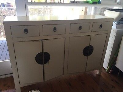 White Sideboard, antique look, in white with antique brass trims