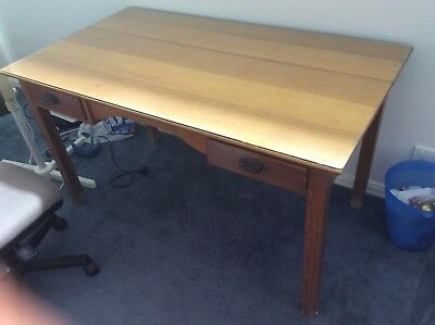 antique wooden desk with glass top
