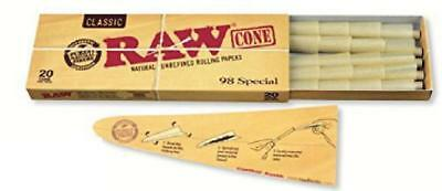 Raw Classic Natural Unrefined Pre Rolled Cone 20 Cones Per Pack 98 Special Paper