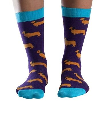 Dachshund Women's Soft Bamboo Crew Socks In Purple