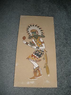 "Native American Indian Dancer Sand Art Painting 16"" x 8"" ""Signed by Artist"" 1979"