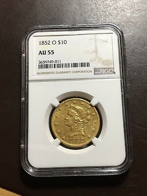 1852 O $10 NGC AU55 New Orleans Gold Eagle One of Scarcest Dates Price Guide 10k