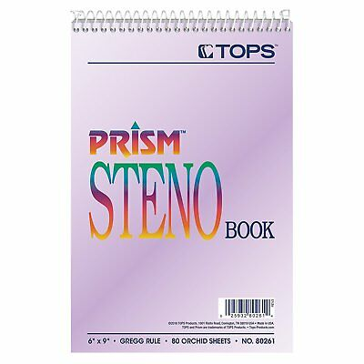 80264 prism steno books, gregg, 6 x 9, orchid, 80 sheets pack of 4 pads