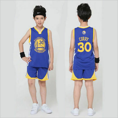 New STEPHEN CURRY #30 KIDS BOYS YOUTH BASKETBALL JERSEY SET Golden State Warrior
