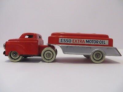 Vintage Fischer Esso Extra Motor Oil Tanker Tin Friction Toy - Very Rare