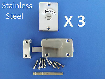 3 X Indicator Bolts Stainless Steel Bathroom Toilet Door Lock Vacant Engaged