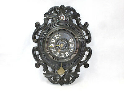 Gründerzeit Era Wall Clock around 1880 Wood Carved