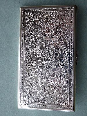 Antique Vintage Cigarette Case Silver Plated With Very Pretty Chased Design