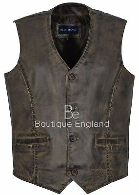 Men New Party Fashion Stylish Dirty Brown Real Soft Napa Leather Waistcoats 5226