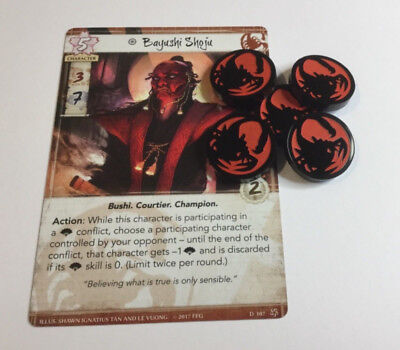 Legend of the Five Rings - Acrylic Scorpion clan fate tokens x 5 (black/red)
